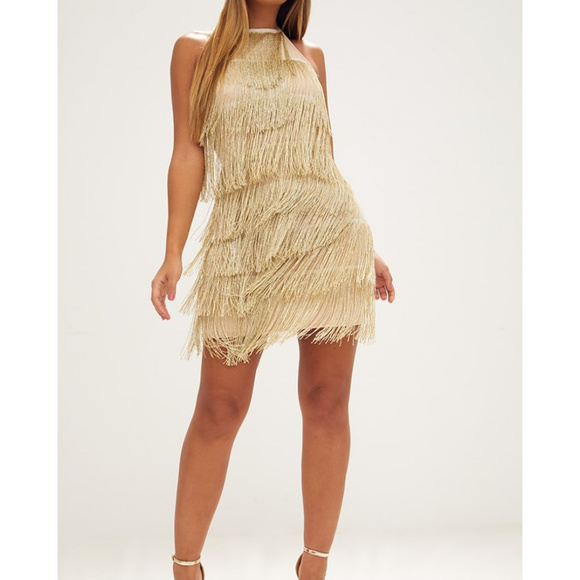 d0bf46bd40 Gold Tassel Detail Halterneck Bodycon Dress